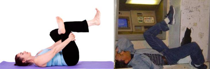 Poses yoga borrachos - hombre acostado en cajero