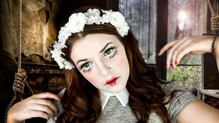 maquillaje de muñeca halloween