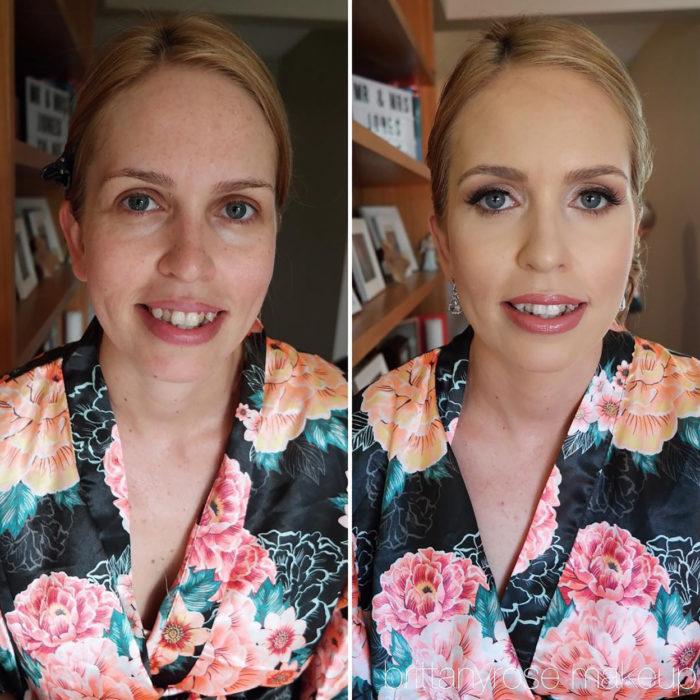 mujer de ojos azules antes y después de maquillarse