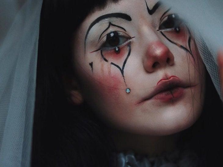 maquillaje de payaso triste
