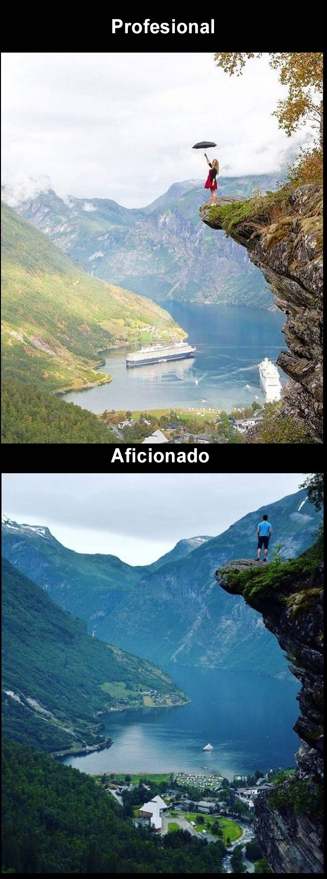 Foto amateur vs. profesional Geiranger, Noruega