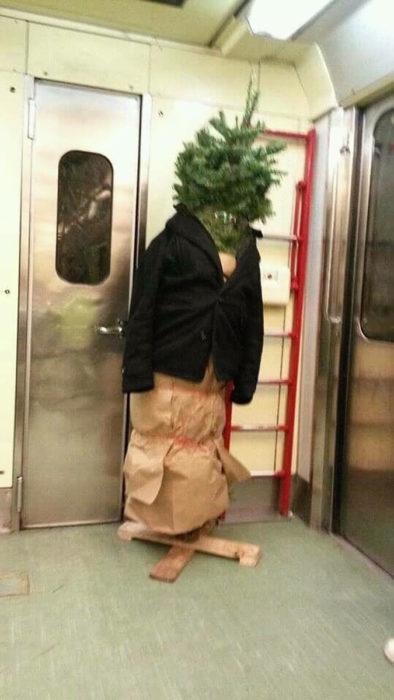 árbol con un saco en el metro