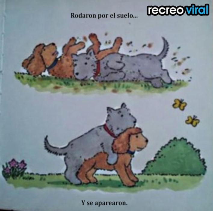 dibujo de perro y perra apareándose