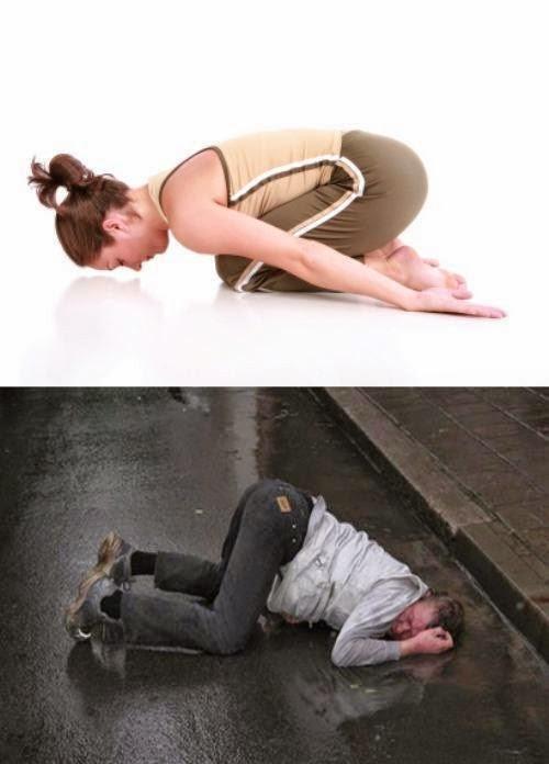 Poses yoga borrachos - Hombre con la cara en la acera
