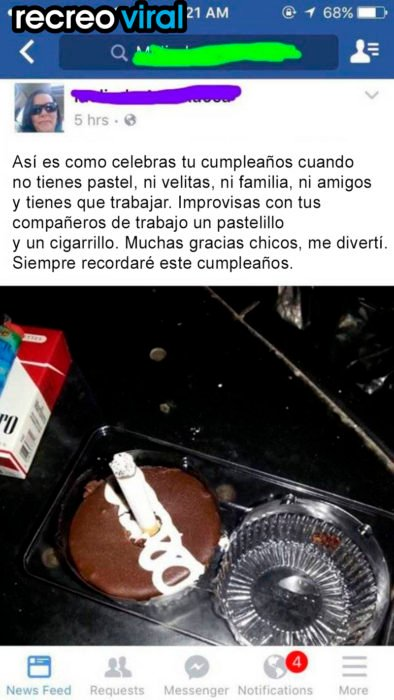 post de facebook pinguino con cigarrillo
