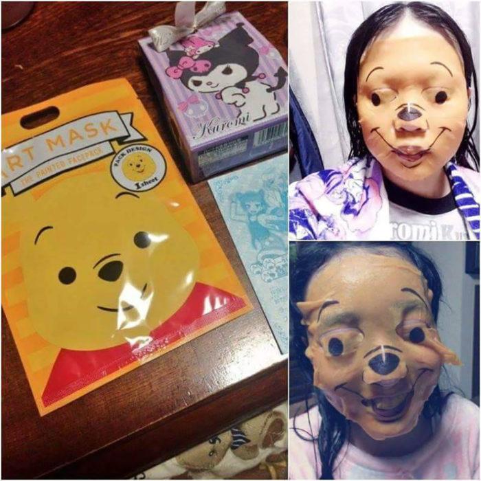 muchacha con máscara de winnie pooh