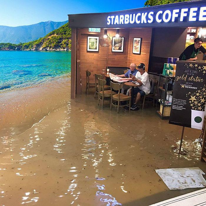 señor en starbucks inundado editado en la playa