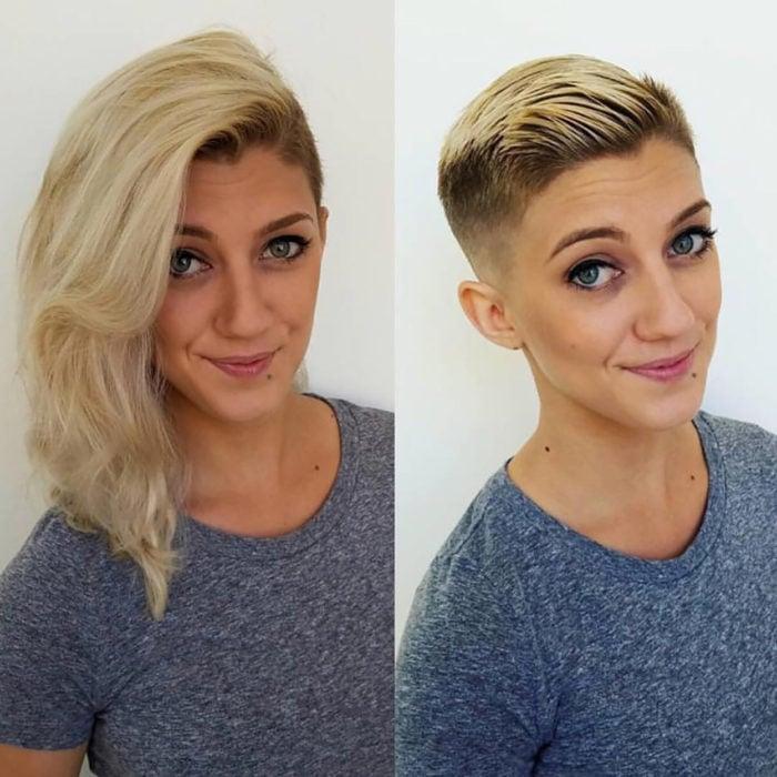 mujer rubia de cabello largo, misma mujer con cabello muy corto