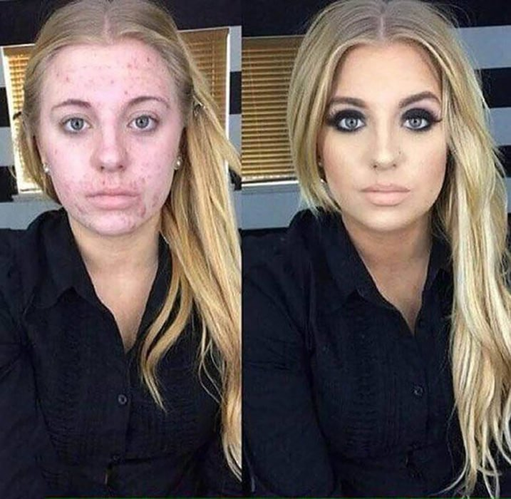 muchacha rubia se transforma con maquillaje