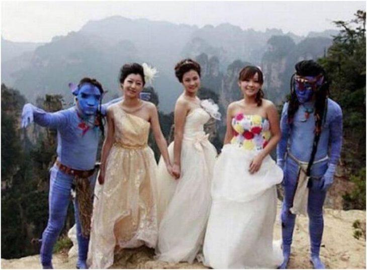 boda, novios vestidos de avatar