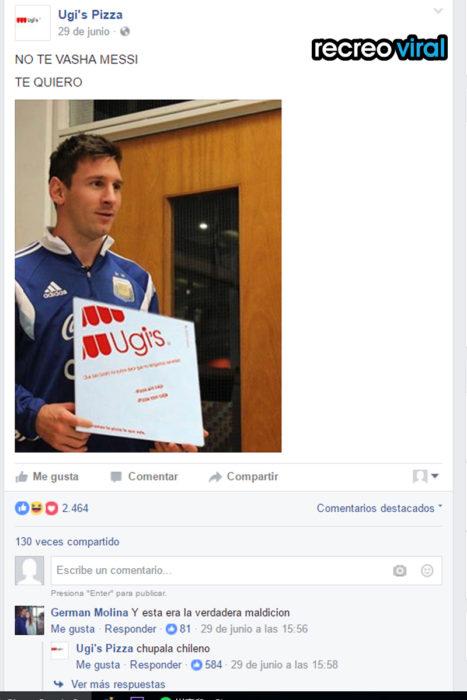 Messi sosteniendo caja de pizza ugi's