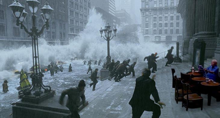 señor en starbucks inundado editado un desastre en una ciudad