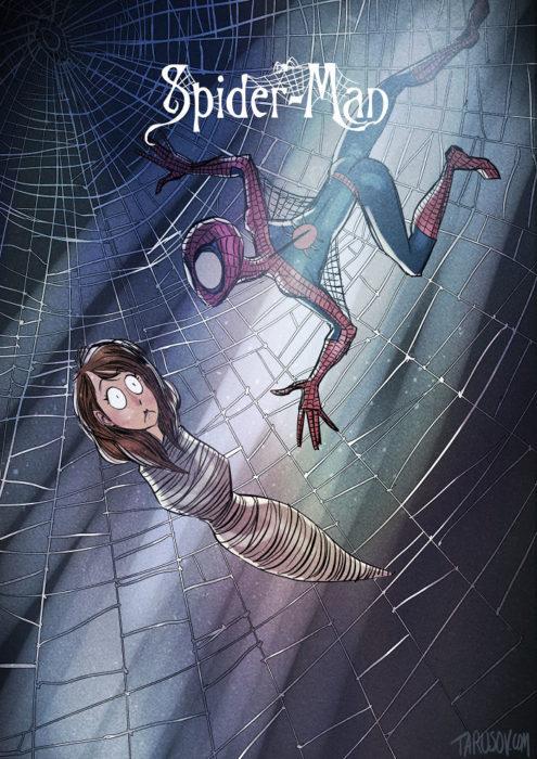 spider man dibujado estilo tim burton