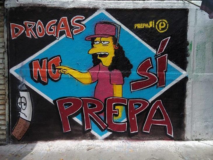 mural en barda di no a la drogas