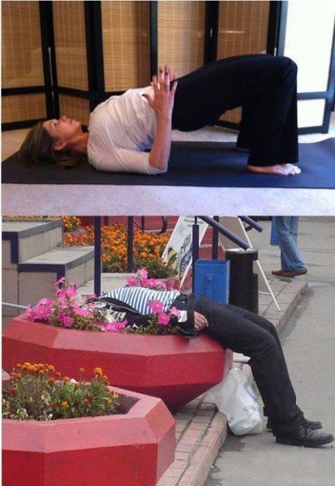 Poses yoga borrachos - Dormido en una jardinera