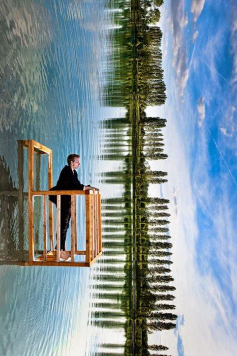 foto de lago y bosque que juega con la perspectiva