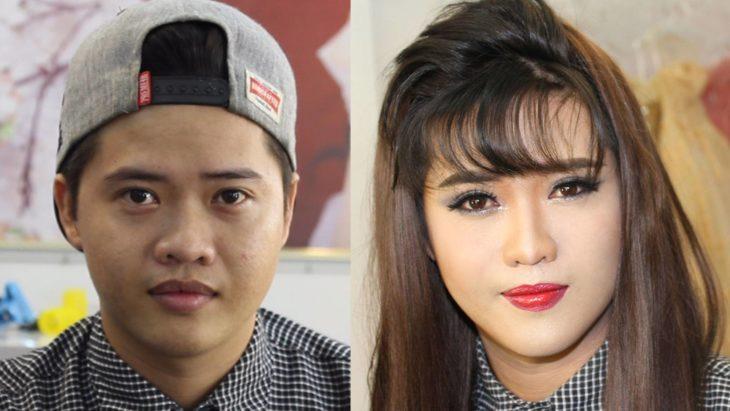 transformación de maquillaje de hombre a mujer