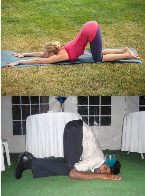 Poses yoga borrachos - Hombre con las nalgas arriba