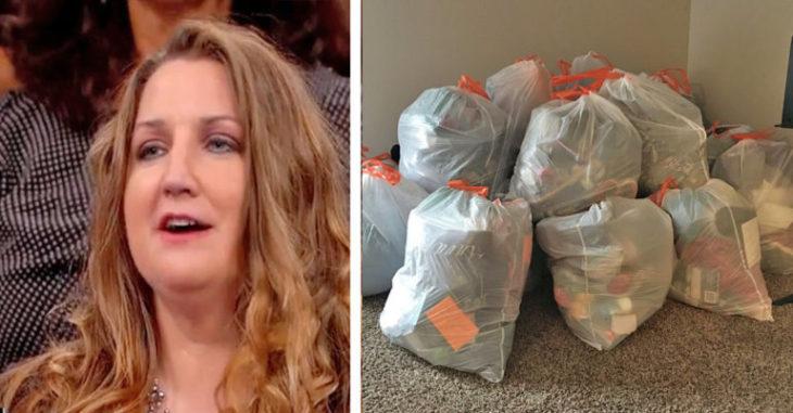 foto de señora al lado de foto de bolsas de basura