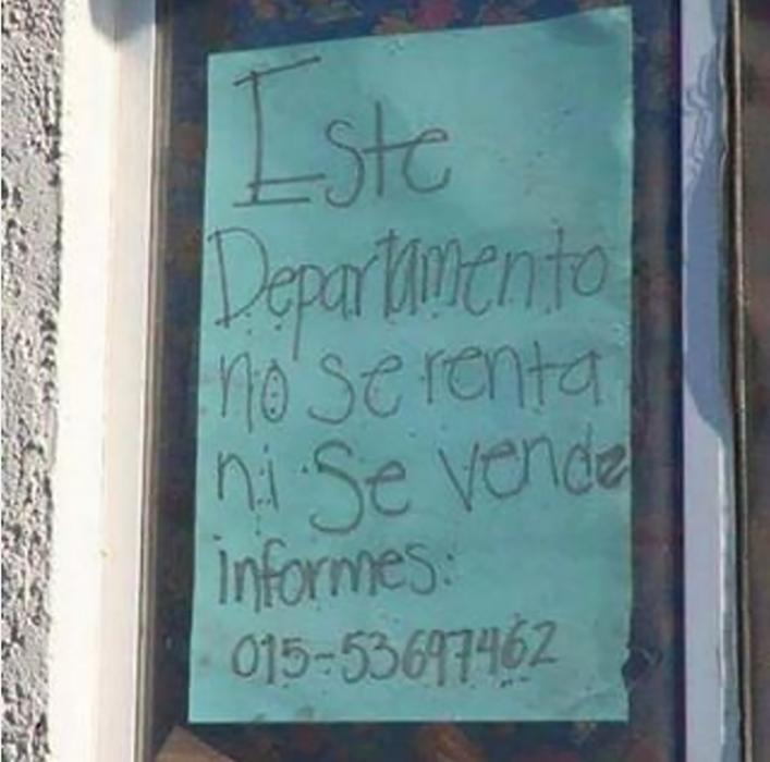 letrero renta de departamento