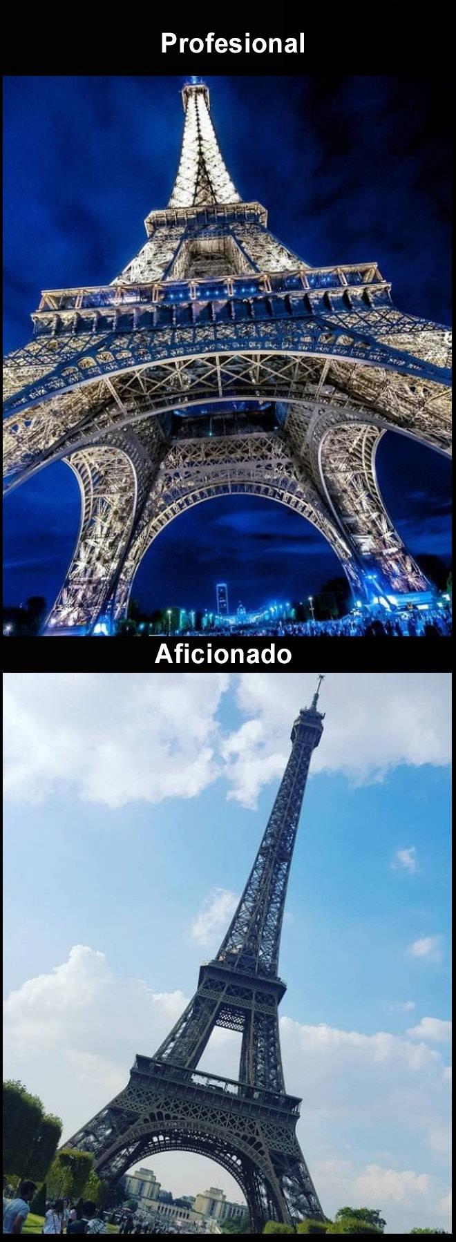 Foto profesional vs. amateur torre eiffel