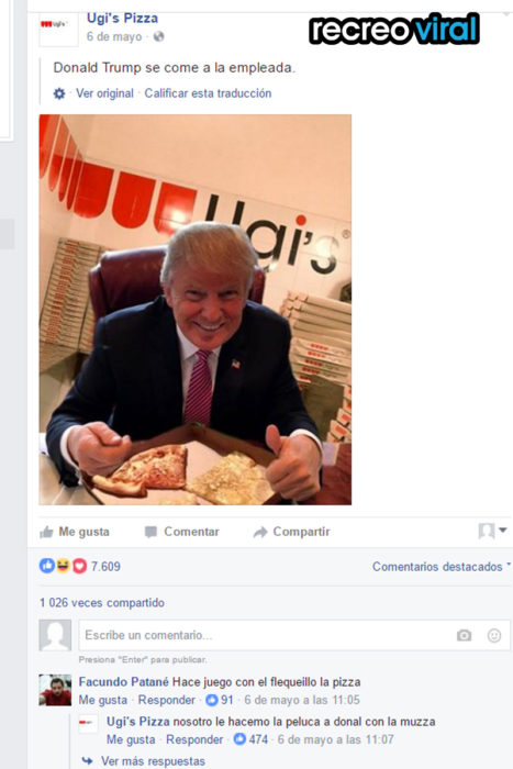 Donald Trump con una pizza ugi's