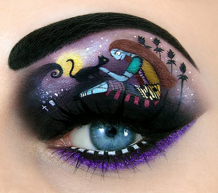 maquillaje para ojos de Nightmare before Christmas