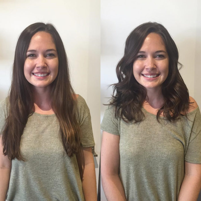 muchacha de pelo castaño largo lacio antes y después de cortarse el pelo