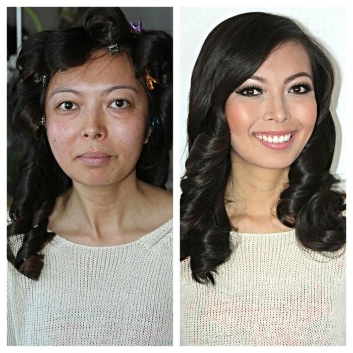 señora rejuvenece con maquillaje
