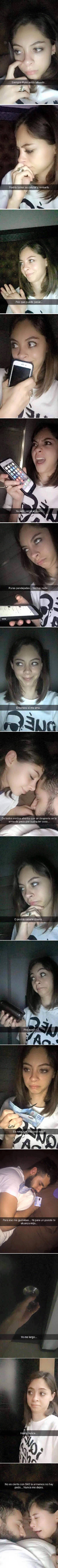 Historia snapchat, novia revisa el celular y la cartera de su novio mientras él duerme