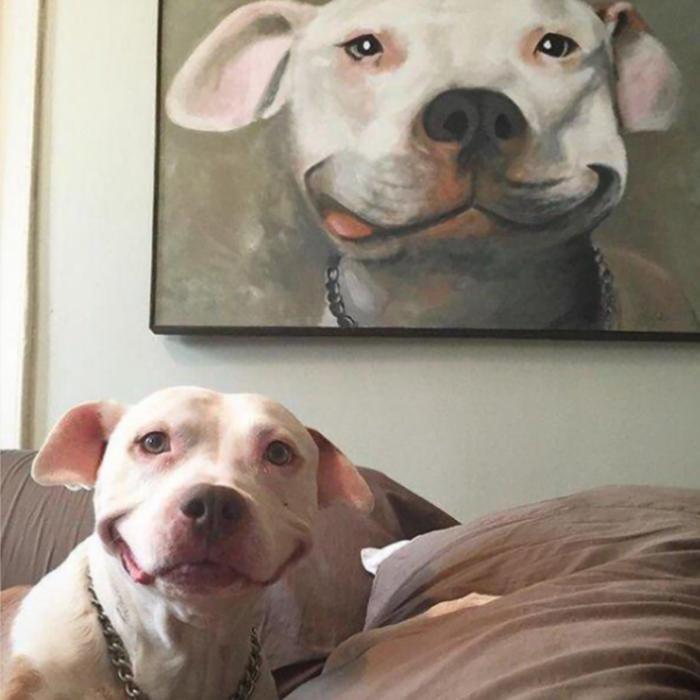 perro sonriente con su retrato pintado