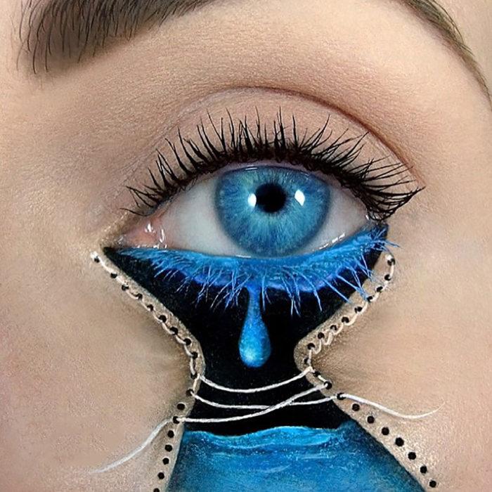 maquillaje de ojos llorando por dentro