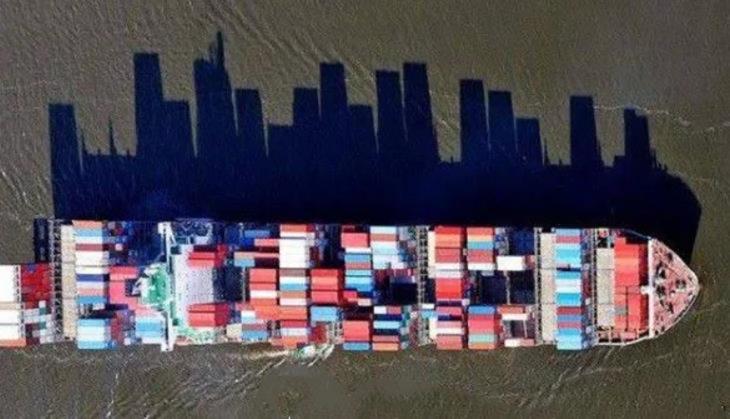 sombra de barco parece una ciudad