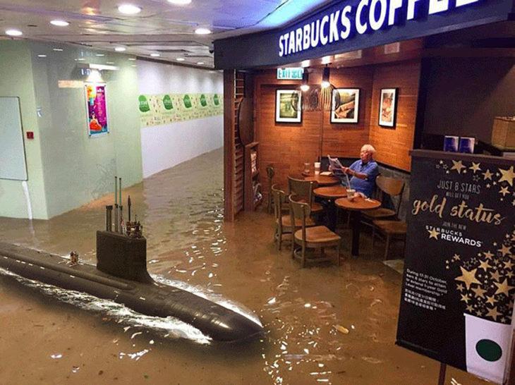 señor en starbucks inundado editado con un submarino