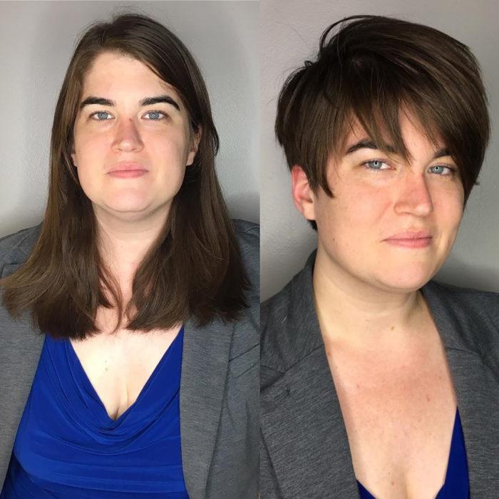 señora de cabello pixie antes y después de cortarse el pelo