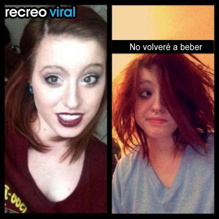 foto de muchacha antes y después de resaca