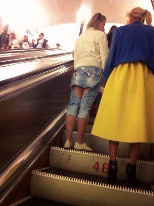 señora con pantalón-falda