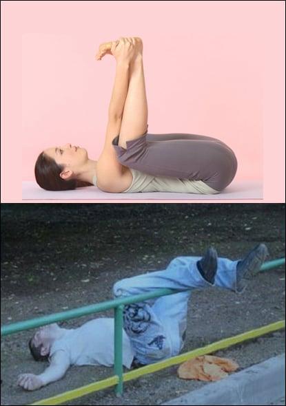 Poses yoga borrachos - Hombre tirado