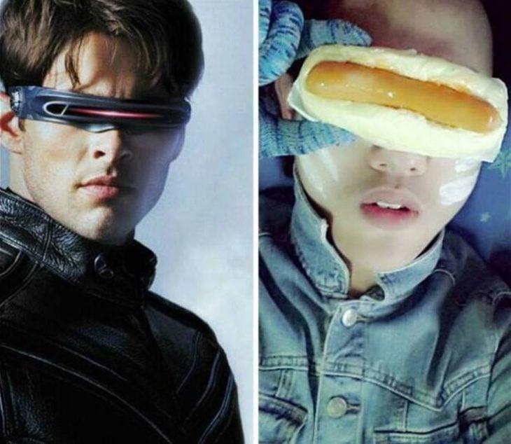 chico con hot dog en los ojos