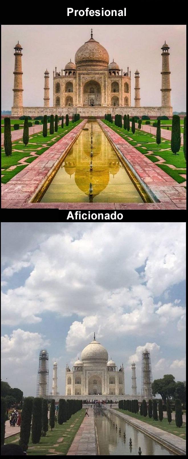 Foto profesional vs. amateur Taj Mahal