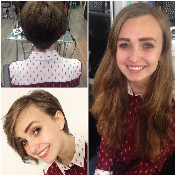 chica tierna antes y después de cortarse el pelo
