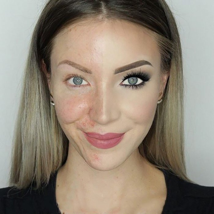 muchacha con la mitad de la cara maquillada y la otra mitad no