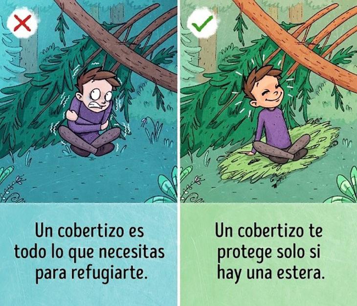 ilustración chico de noche en el bosque