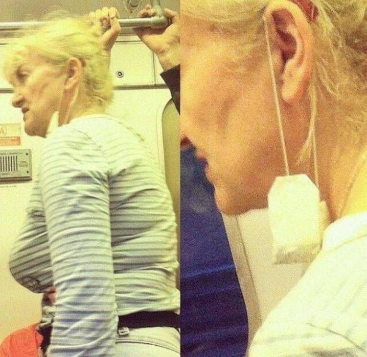 señora con bolsa de te en la oreja