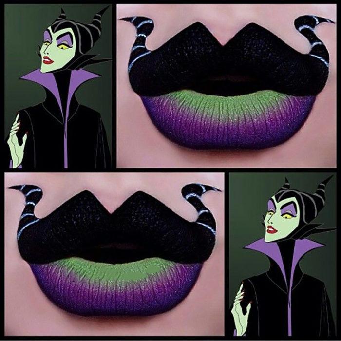 labios pintados como maléfica
