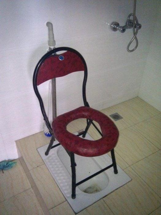 silla adaptada a tasa de baño