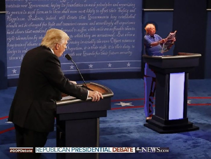 señor en starbucks inundado editado en el debate presidencial