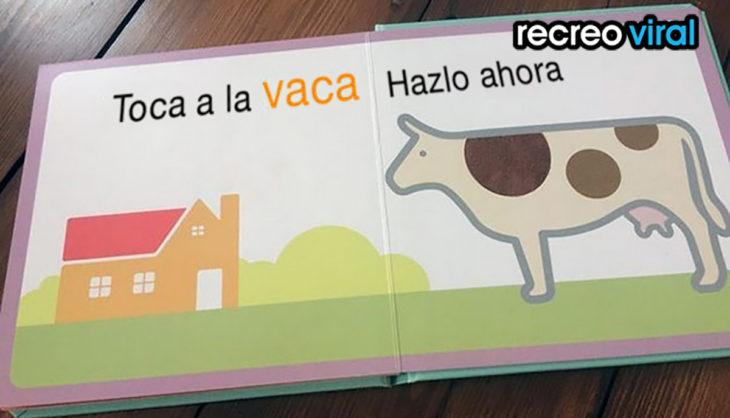 libro infantil con el dibujo de una vaca