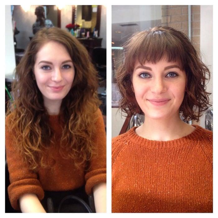 muchacha de sueter anaranjado antes y después de cortarse el pelo