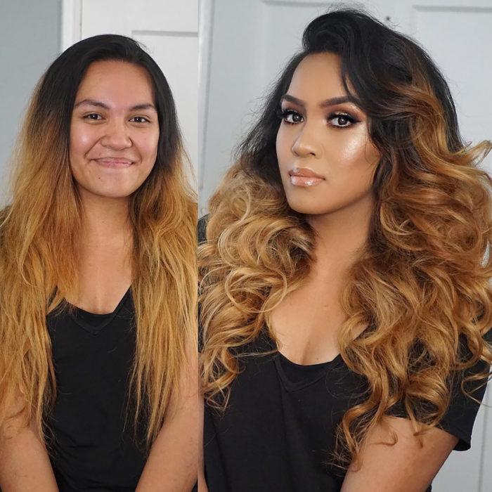 cambio de imagen, chica se ondula el cabello y se maquilla